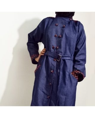 Blue Front Buttoned With Mehroon Checkered Velvet Strips Denim Abaya And Turkish Coats Online In Pakistan