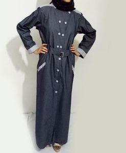 Front Buttoned Checkered Velvet Strips Denim Abaya