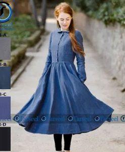 Stylish Designer Short Denim Abaya For Her – Short Abaya Frock Style Short Denim Jeans Abaya For Her