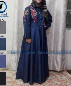 Maxi Style Double Embroidered Denim Abaya For Her