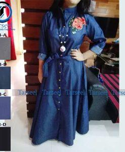 Embroidered Abaya Jeans Denim Abaya For Her