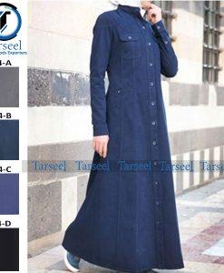 Denim Coat Abaya Premium Coat Style Denim Abaya Jilbab