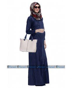 Designer Denim Abaya Front Full Zipper Abaya Fashion Denim Jeans Jilbab Abaya For Her