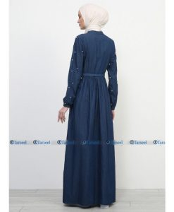 Stylish Fashionable Flare Design Denim Abaya With Pearls On Sleeves With Waist Belt