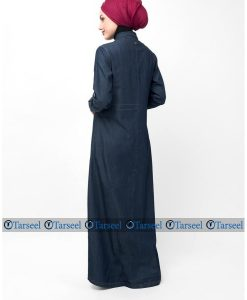 Reversible Abaya Side Belted Denim Abaya Contrast Panel Extra Ordinary Designer Denim Jeans Abaya Jilbab For Women