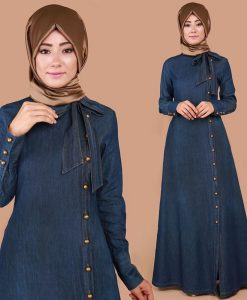 Blue Denim Stylish Abaya Denim Jeans Jilbab Abaya For Her With Golden Buttons And Knot Design On Collar