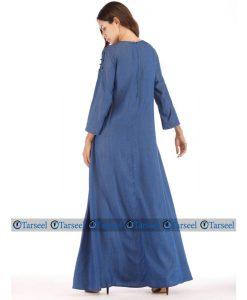 Stylish Designer Flare Style Denim Abaya With Rich Pearls On Chest Denim Jilbab Summer Jeans Stylish Abaya With Black And White Pearls