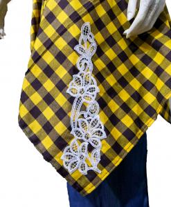 Yellow And Black   Women Embroidery Checkered Cotton Shirt   Checkered Cotton kurti