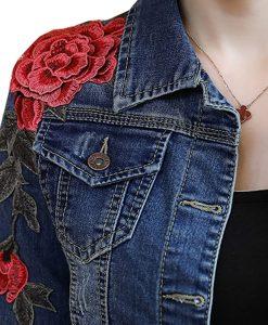Womens Denim Jacket Embroidered Floral Jean Jacket